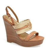 Women's Shoes Coach A4853 BEATRIZ Wedge Sandals Heels Ginger Gold - $99.89