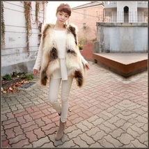Fashion Faux Fur Long Hair Coyote V Neck Wide Front Cut Faux Fur Vest