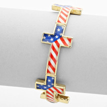 Gold, Red, White  & Blue American Flag Cross Link Stretch Bracelet 35592 - ₨1,103.76 INR