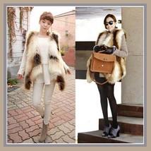 Fashion Faux Fur Long Hair Coyote V Neck Wide Front Cut Faux Fur Vest image 2