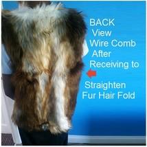 Fashion Faux Fur Long Hair Coyote V Neck Wide Front Cut Faux Fur Vest image 3