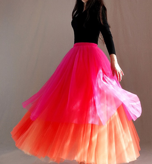 Women Tier Layered Tulle Skirt Blue Tulle Mesh Party Prom Tulle Skirt Plus Size