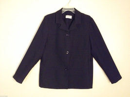 Alfred Dunner Women's Size 10 Black Blazer Jacket Single-Breasted 3-Button Front