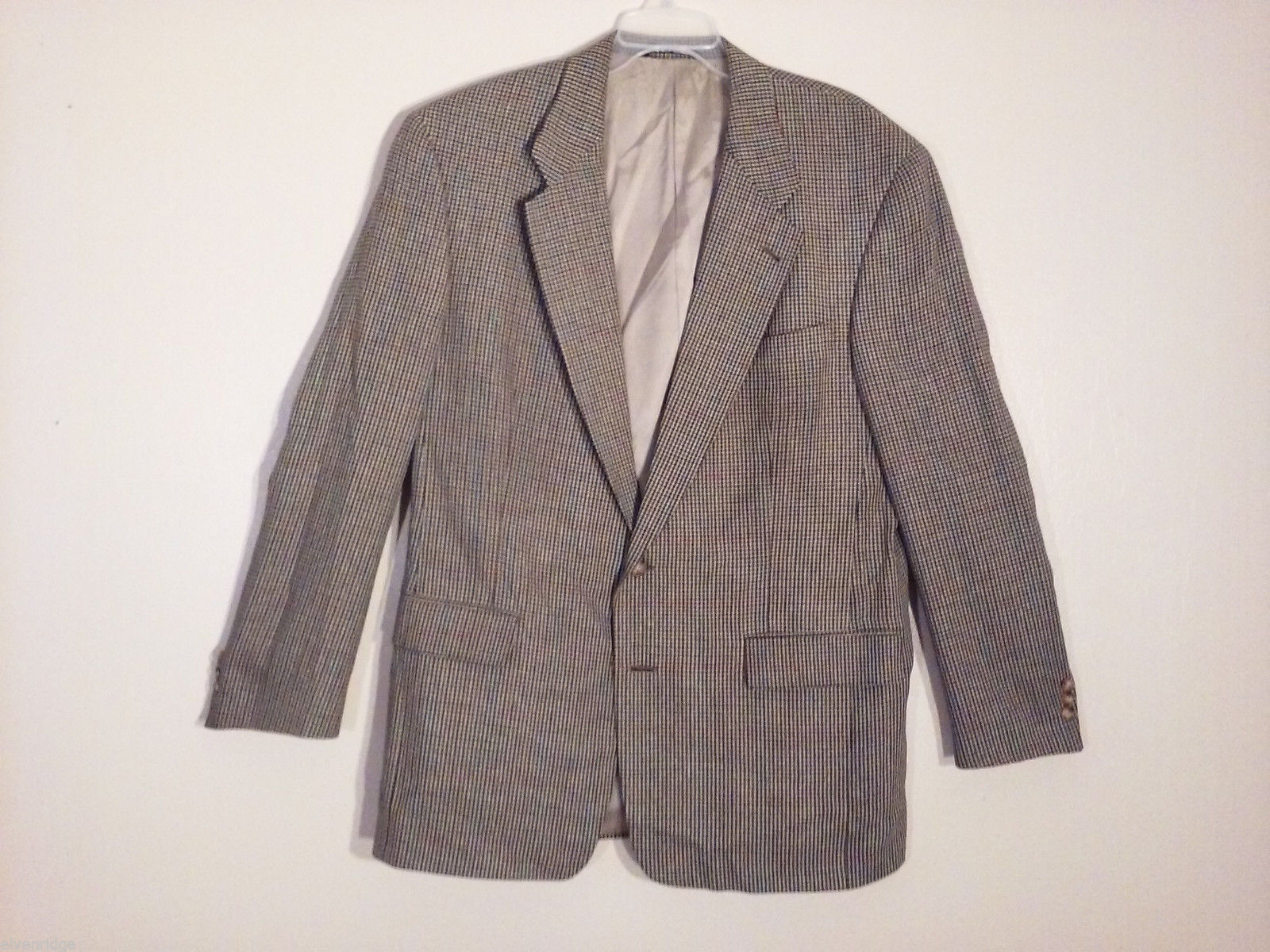 Burberry Men's Size 43 US XL Blazer Coat Wool-Silk Blend Brown Multi Houndstooth