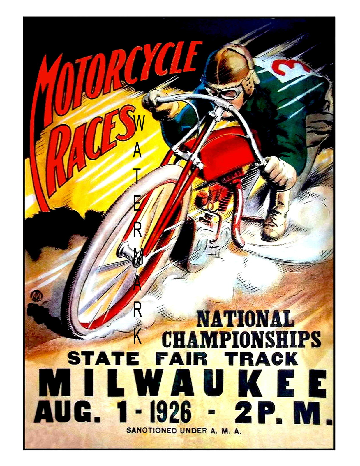 Milwaukee Vintage 1926 Motorcycle Racing 13 x 10 inch Advert Giclee CANVAS Print