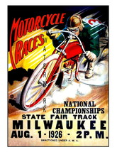 Milwaukee Vintage 1926 Motorcycle Racing 13 x 10 inch Advert Giclee CANV... - $19.95