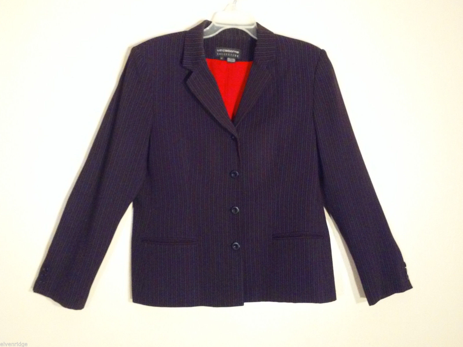 Liz Claiborne Women's Size 12 Black Blazer Red Gray Pin Stripes Office Business