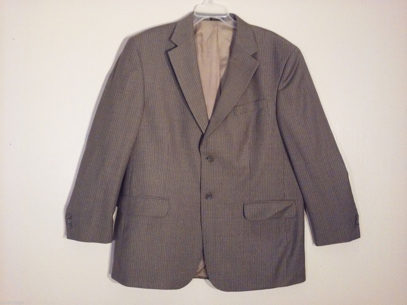 Stafford Men's Size XL Blazer Sport Coat Tiny Houndstooth Print Beige Gray Brown