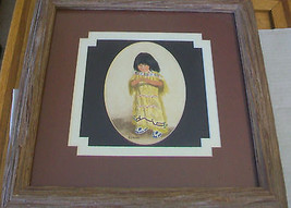 ORIGINAL NAVAJO WATER COLOR PAINTING OF GIRL IN NATIVE DRESS, FRAMED & M... - $371.24