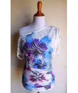 UMGEE USA ~ SMALL WHITE FLORAL SHREDDED OFF SHOULDER ASYMMETRICAL TUNIC TOP - $12.00