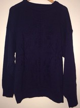 Eddie Bauer SNOWFLAKES L Navy Blue Cotton Knit Sweater Men's Jumper Large - $43.95