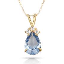 3.70 CT Aquamarine Pear Shape 4 Stone Gemstone Pendant & Necklace14K Yel... - $133.50