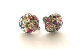 Colorful Screw back Earrings Disco Dance Vintage Jewelry Old Plastic Bij... - $24.75