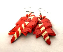 Red White Candy Bow Red White Earrings Jewelry Dangle Drop Whimsical Bol... - $24.75