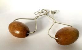 Vintage Long Bold Drop Dangle Earrings Wood Costume Jewelry Bijoux Jewelery - $29.70