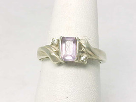 AVON Sterling Silver Emerald-cut AMETHYST and WHITE TOPAZ RING - Size 5 - £26.51 GBP