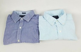 Lot Of 2 American Eagle Mens Button Down Sriped Shirts Baby Blue, Blue S... - $26.18