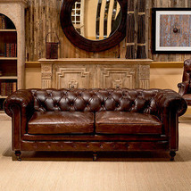 """89"""" Sofa  Restoration Style Vintage Cigar Top Grain Leather Tufted Chesterfield - $3,757.05"""