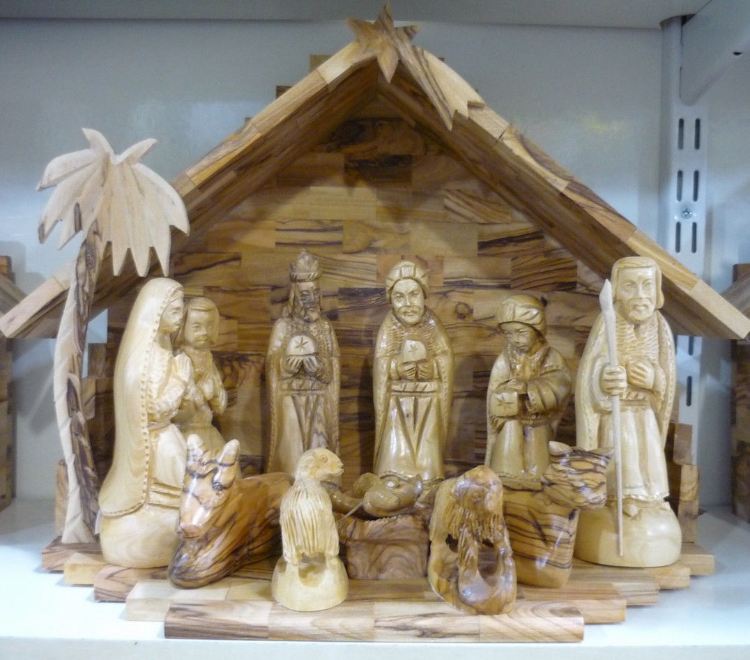 Wooden Hand Carved Nativity Sets ~ Beautiful quot olive wood nativity set hand carved at