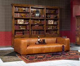 "100"" Contemporary Sofa Vintage Cigar Brown Soft Italian  Top Grain Leather, New! - $4,701.51"