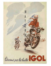 Igol Vintage Motorcycle Racing 13 x 10 inch Advertising Giclee CANVAS Print - $19.95