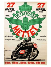 Rumesm Mettet Vintage Motorcycle Racing 13 x 10 inch Advert Giclee CANVA... - $19.95