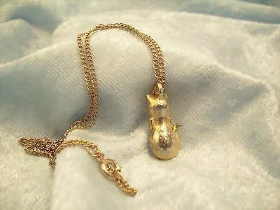 CZ Kitty Cat Pendant Cubic Zirconia Necklace Gold Plated Figural Sparkle Signed image 11
