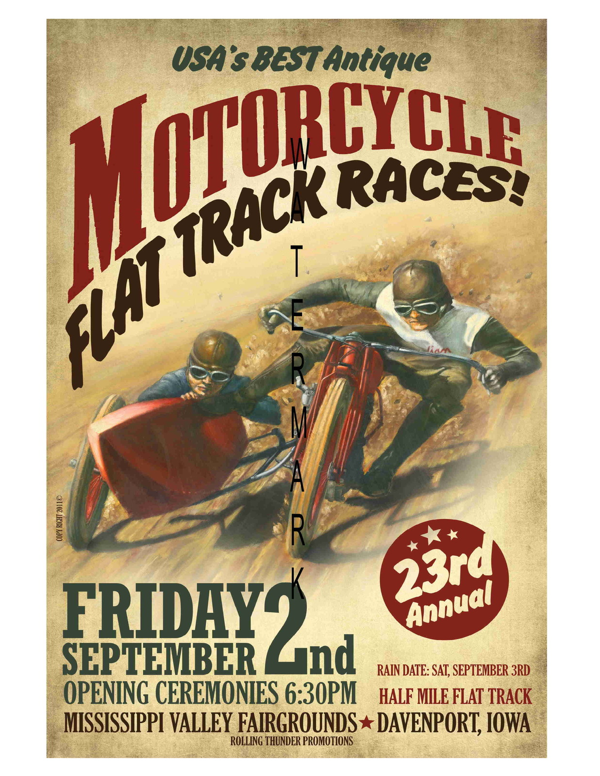 Flat Track Vintage Motorcycle Racing 13 x 10 in Advertising Giclee CANVAS Print