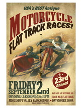 Flat Track Vintage Motorcycle Racing 13 x 10 in Advertising Giclee CANVA... - $19.95