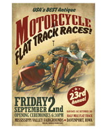 Flat Track Vintage Motorcycle Racing 13 x 10 in... - $19.95
