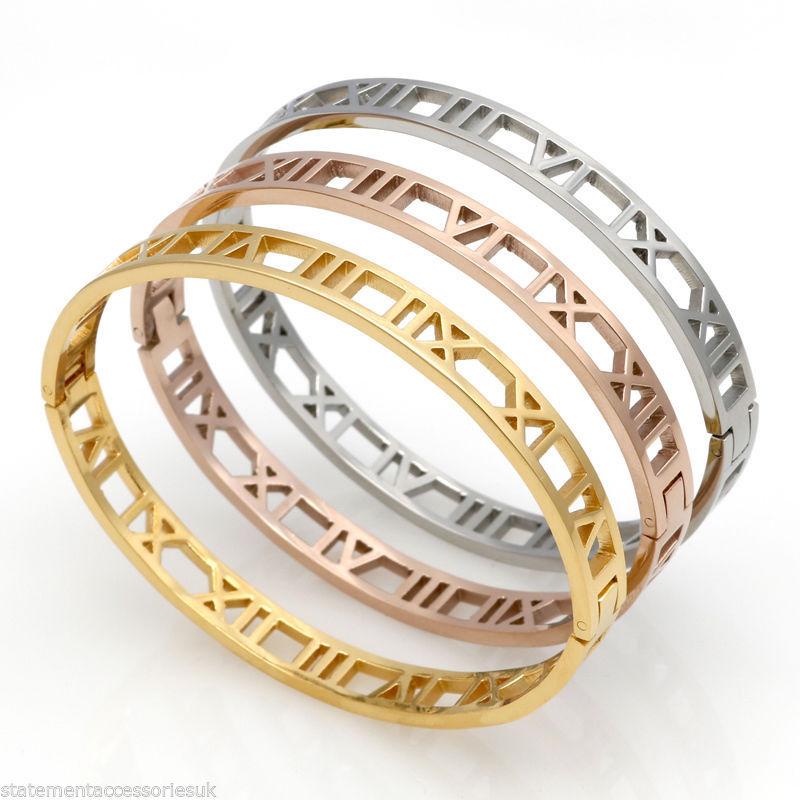 Roman Numeral Xvi Bangle Bracelet Rose Gold Silver