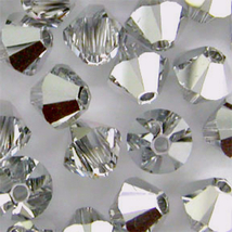 6mm Crystal Argent Light Swarovski Xilion Beads 5328, 72 CAL silver bicone - $12.50