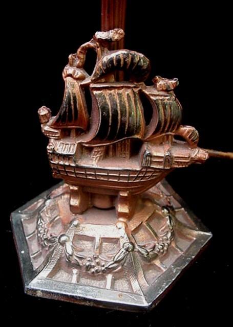 Antique Spanish Galleon Sailing Ship Metal Table Lamp