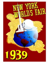 New York Vintage 1939 Worlds Fair 7 x 5 inch Mini ADVERT Giclee CANVAS P... - $9.95