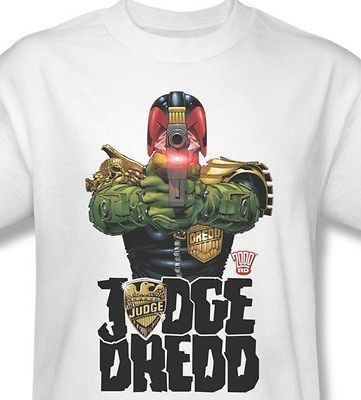 Judge Dredd T shirt I Am Law superhero comic 100% cotton graphic white tee JD102