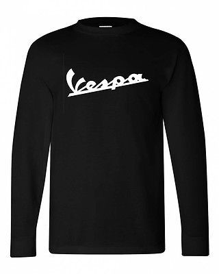 Vespa L/S T shirt black cotton long sleeve graphic tee punk retro scooter tee