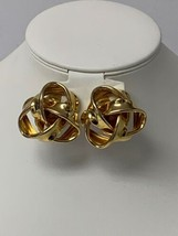 Knot Style Clip On Earrings Gold in Color Unsigned - $9.75