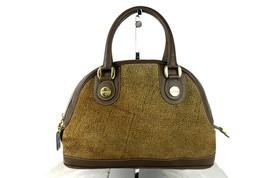 BORBONESE Redwall Quail Pattern Brown Canvas Leather Handbag Purse Italy... - $88.11