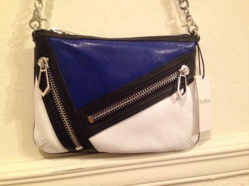 NWT Botkier Blue-White-Black Colorblock Cruz Leather CrossBody Chain Bag Zippers - $79.99