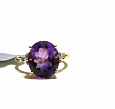 10K Yellow Gold Purple Amethyst Oval & Diamond Ring, Size 6, 4.53(TCW), 2.02GR - $170.99
