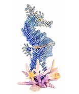 Big Sea Horse Trinket Box, Hand Set Sapphire Swarovski Crystal, Hand Pai... - $199.99