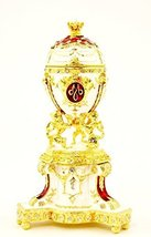 Faberge Style Egg Trinket Box with Stand Attached, Hand Set Clear Swarov... - $69.99