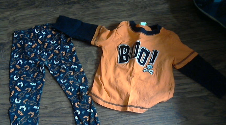 Primary image for Boys 2 piece orange long sleeve shirt and bats print pant 2T and 3T