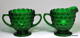 ANCHOR HOCKING - BUBBLE FOREST GREEN - SUGAR & CREAMER - MINT - $18.48