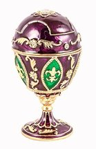 Faberge Style Egg with Fleur De Leis Design Trinket Box, Hand Set Swarov... - $39.99