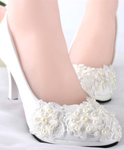 Lacy Wedding Heel Sparkling Bridal Heels Fantasy Bridal Shoes UK 2,3,4,5,6,7,8,9 - $38.00