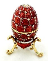 Faberge Style Egg Trinket Box with Stand, Hand Set Clear Swarovski Cryst... - $39.99