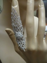 18 K White Vermeil Pave 5 A Vvs Cubic Zirconia Full Finger Or Knuckle Ring Ss/925 - $179.99