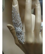 18K WHITE VERMEIL-Pave 5A VVS Cubic Zirconia Full Finger or Knuckle Ring... - $159.99