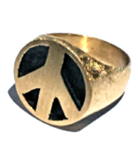 14K PEACE SIGN RING (10+grams GOLD) FLORENTINE Antiqued 3-D HandCrafted - $499.00